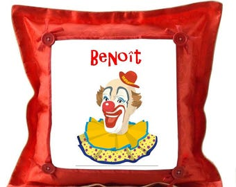 Red cushion Clown personalized with name