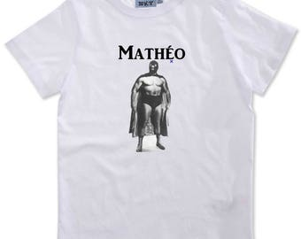 T-shirt boy wrestler personalized with name