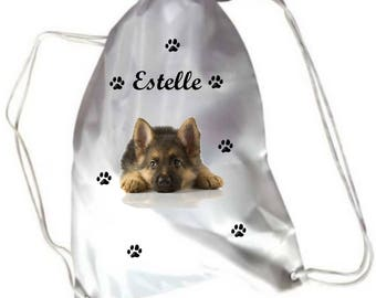 Personalized with name German shepherd puppy pool gym bag