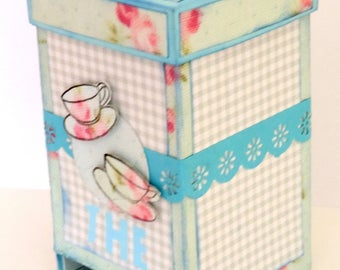 scrap booking - the dispenser box Tea Caddy. Hand made
