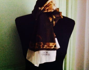 Retro Brown floral patterned scarf