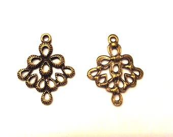 Set of 30 charms connectors pendants bronze diamonds T31