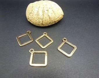 4 charms geometric Rhombus 21 * 17mm, gold (8SBD56)