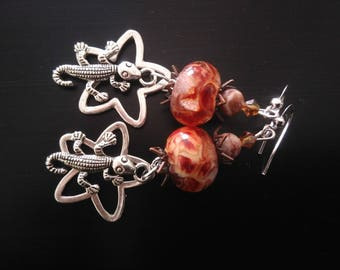 Earrings: Little geckos South and savannahs beads
