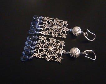 Earrings: Prints and beads filigree - glass beads