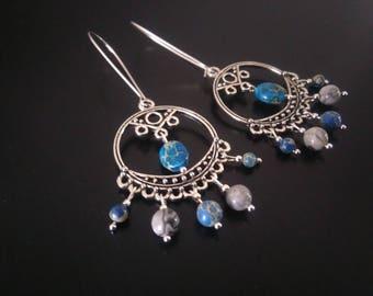 Hoop earrings with Jasper hanging