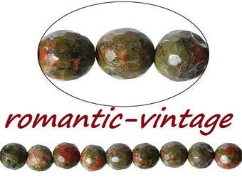 unakite: 1 strand of 62! faceted natural beads, semi precious 6mm