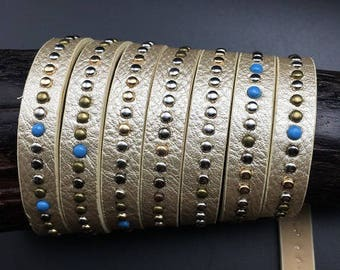 120cm strap faux leather and rivets, beige iridescent shiny, spirit ethnic 10mm