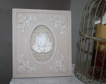 Romantic wood carved and weathered frame