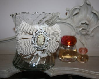 Beaded glass shabby chic candle