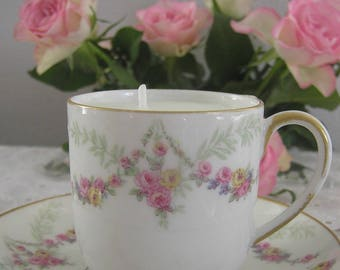 Romantic candle, coffee cup and saucer porcelain n3