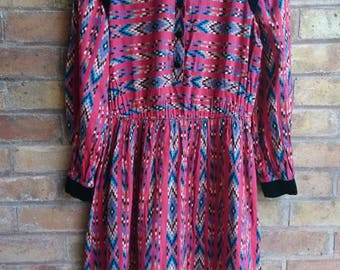Vintage aztec print dress with velvet details
