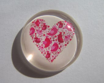 Cabochon 30 mm with pink/red heart image and birds
