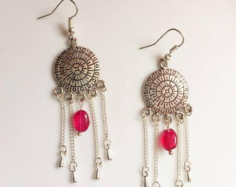 Silver earrings, pink beads