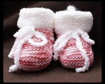 Chausson baby pink marl and white yarn knit Terry