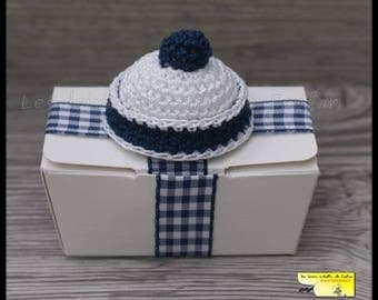10 boxes dragées little blue sailor Hat Navy and white for christenings, births or other events