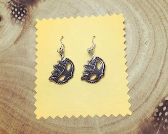 Silver Venetian masks earrings