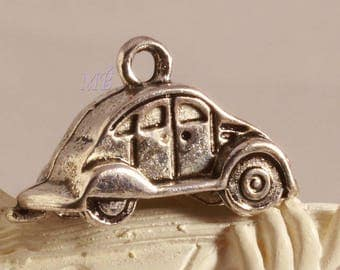 10 charms silver embossed 24X9mm car