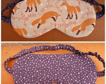 """Sleeping mask """"Foxes and stars in Orange and purple"""" reversible, cotton and quilted"""
