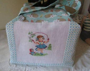 Vanity case * snap * cross stitch Embroidery and sewing handmade France