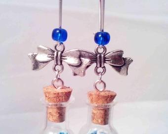 """Bubble vial & mix of blue/white flowers"" earrings"