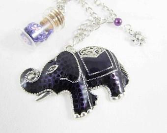 "Necklace adjustable ""Elephant, flower and purple glass vial"" - 60 / 70cm REF CS022"