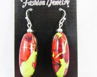 Hook earring - long Pearl acrylic green/red/gold