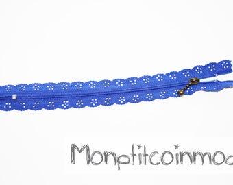 Blue ♥ ♥ set of 2 zippers zip lace 20 cm