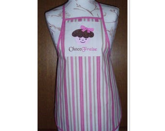Kitchen apron for girl, made of cotton with embroidery muffin