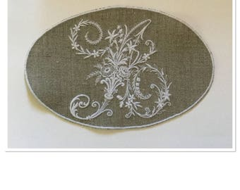 """VICTORIAN IN LOCKET-LETTER MONOGRAM """""""" EMBROIDERED IN WHITE ON LINEN"""
