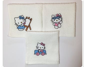Terry towels baby cotton embroidered white Kitty