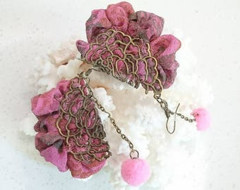 "Earrings ""Les buttons of Rose of Kalyan"" recycled sari silk, bronze filigree coins, tassels, chains and findings"