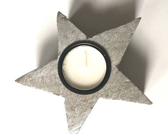 Wooden candle holder natural silver color