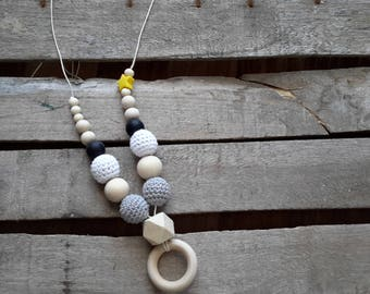 "The ""Morsotti"" nursing necklace in shades of gray"