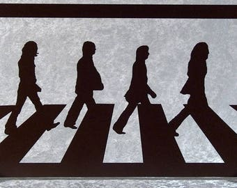Beatles, Abbey road painting silhouette in woodcut