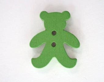 20mm x 10 bear wooden button: Green - 001880