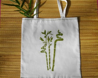 Tote bag (bamboo)-painted and embroidered with a floral pattern