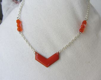 chevron orange enamel, faceted glass beads and silver metal chain pendant necklace