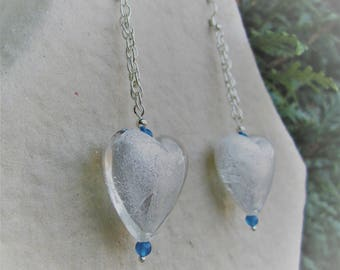 Plated Silver earrings with heart glass and silver foil