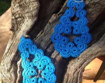 Blue cotton lace earrings bright tatted lace