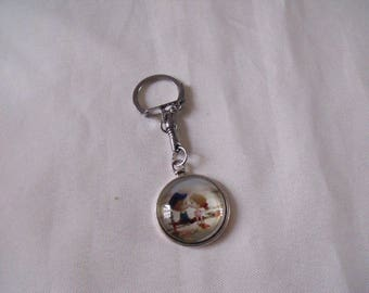 cabochon silver Keychain couple of children