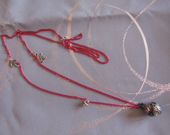 LIQUIDATION long necklace Bola pregnancy silver red