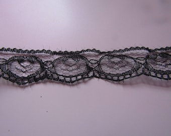 lace trim 22mm wide black ribbon