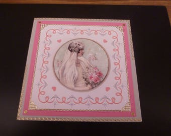 """embroidered card """"the romantic bride"""""""