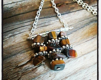 Tiger eye beads and silver necklace
