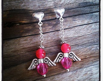 Silver heart and Angel beaded earrings pink
