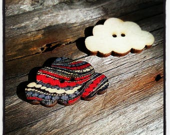 fancy button wooden cloud with red and gray lines 30x19mm