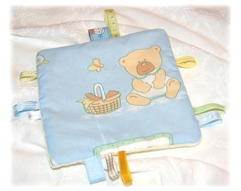Blanket square with tags - sky blue and pale yellow