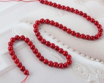 lot de 5 perles de corail rouge 8mm, perles corail 8mm rouge naturelles - perle corail rouge 8 mm perles rouges