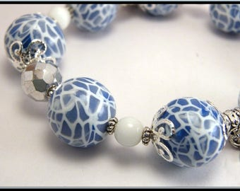 Blue MOZAIC polymer clay and glass bead Pearl elastic bracelet.